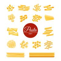 Ensemble réaliste d'icônes de pâtes traditionnelles italiennes