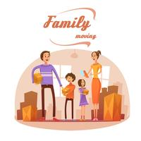 Family Moving In Cartoon Illustration