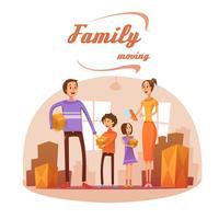 Familie die zich in Beeldverhaalillustratie beweegt