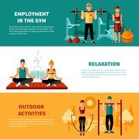 Set di banner orizzontale di fitness