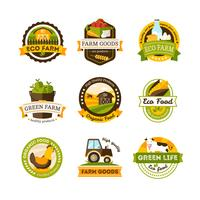 Emblemas de la granja de alimentos orgánicos
