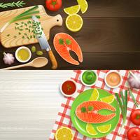 Flat Lay Cooking 2 Banners Set