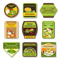 Vegetarian Food Colorful Emblems
