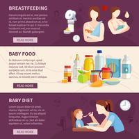 Conjunto de Banners horizontales de alimentación del bebé