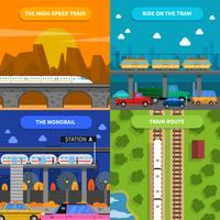 Train Concept Icons Set