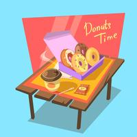 Donuts time concept vector