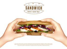 Hälsosam Sandwich I Händer Realistisk Bild