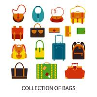 Modern Bags Ftat Colorful Icons Set