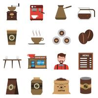 Coffee Shop Flat Icons Set
