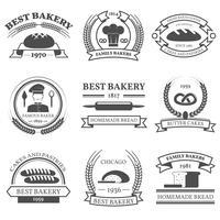 Bäckerei Schwarz Weiß Embleme Set