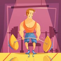 Deadlift Cartoon Illustration