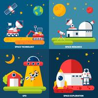Space Exploration 4 Flat Icons Square