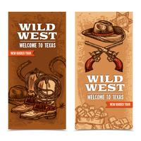 Cawboy Wild West Vertical Banners