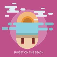 Progettazione dell'illustrazione concettuale di tramonto sulla spiaggia