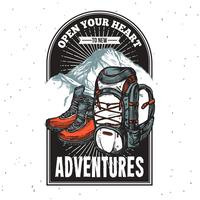 Emblema de letras de aventura de impresión