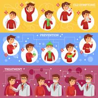 Flu Symptoms Horizontal Banners vector