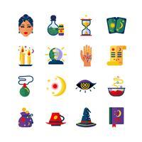 Set di icone piane di attributi di indovino