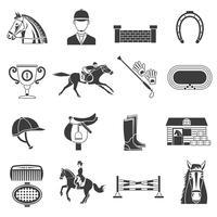Schwarze Ikonen eingestellt mit Pferdeausrüstung