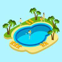 People At Water Park Illustration