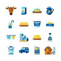 Mjölk Mejeriprodukter Platta Ikoner Set