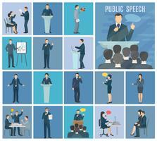 Conjunto de iconos planos de hablar en público