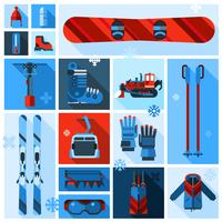 Skiing Equipment Icons Set