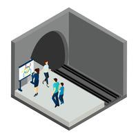 Wachten op ondergrondse trein illustratie