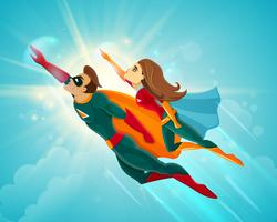 Super heróis casal voando