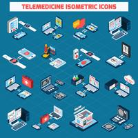 Telemedicine isometric icons set