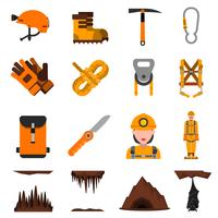 Höhlenforschung flache Icons Set