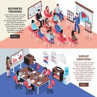 Banners de entrenamiento empresarial y entrenamiento grupal