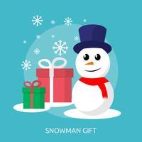 Ilustração conceitual de boneco de neve e caixa de presente