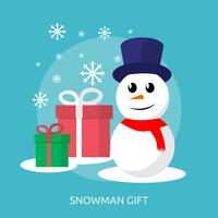 Snowman and Gift Box Conceptual illustration Design