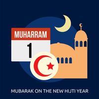 Mubarak on the New Hijti Year Conceptual illustration Design