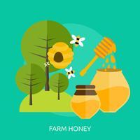 Progettazione concettuale dell'illustrazione del miele dell'azienda agricola