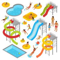 aqua park isometric icons set