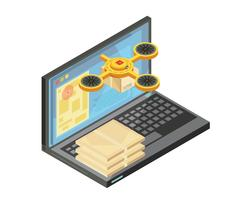 Delivery Tracking By Internet Isometric Composition