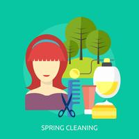 Ilustração conceitual de limpeza de primavera