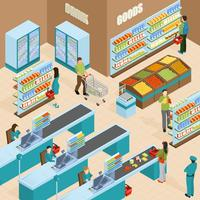 Concetto di design isometrico del supermercato