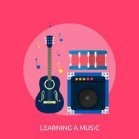 Een conceptueel illustratieontwerp van muziek leren