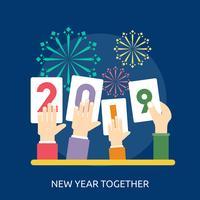 Nieuwjaar samen Conceptueel illustratieontwerp