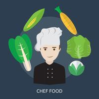 Progettazione concettuale dell'illustrazione dell'alimento del cuoco unico
