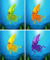 Escena submarina con calamar nadando