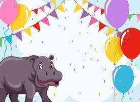 Um hipopótamo no modelo de festa