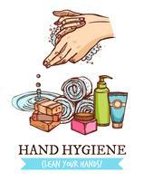 Mão, lavando, ilustração