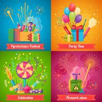 Set di icone piatto 2x2 Festival della pirotecnica