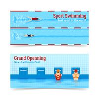 Sport Swimming Grand Opening Banners Set