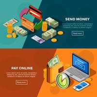 Two Horizontal Isometric Bank Service Banners
