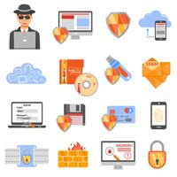 Network Security Color Icons vector