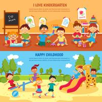 Conjunto de banners de jardín de infantes